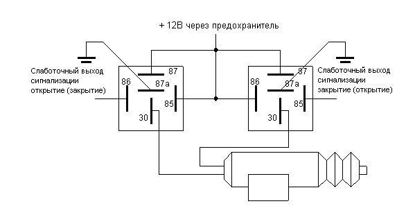 Схема подключения центрального замка при дополнительно установленном активаторе (активаторах) к сигнализациям...